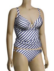 Aerin Rose Over Shoulder Tankini W/ Hammered Ring 82711 - Nautical