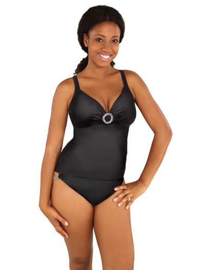 Aerin Rose Over Shoulder Tankini W/ Hammered Ring 82711 - Graphite