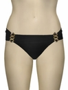 Aerin Rose Ruched Back Hipster Bikini Bottom With Hardware 401 - Black