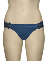 Aerin Rose Ruched Back Hipster Bikini Bottom With Hardware 401 - Twilight