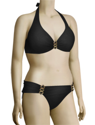 Aerin Rose Underwire Halter Bikini Top With Hardware 114 - Black