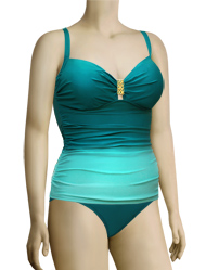 Aerin Rose Underwire Shirred Bodice Tankini W/ Hardware 229 - Omb Emerald