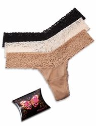 Affinitas Intimates 3-Thong Pack PP41-1 - Nude/Ivry/Blk