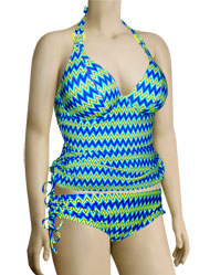 Curvy Kate Shockwave Halterneck Tankini Top CS1226 - Electric Shock