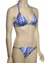 Eda Aruba Halterneck Bikini Top w/ Gold Snake Sliders ESE03-29/1 - White / Blue