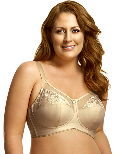 Elila Embroidered Microfiber Soft Cup Bra 1301 - Nude
