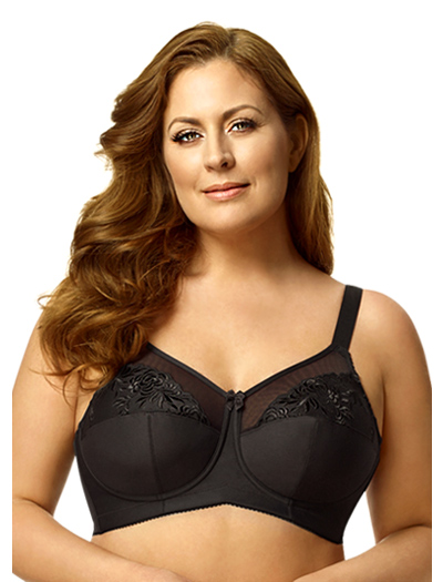 Elila Embroidered Microfiber Soft Cup Bra 1301 - Black