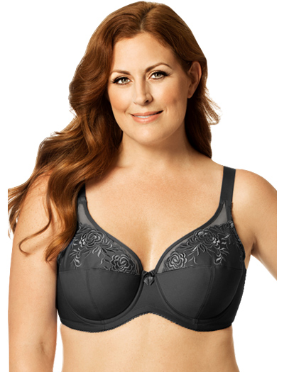 Elila Embroidered Microfiber Underwire Bra 2401 - Black
