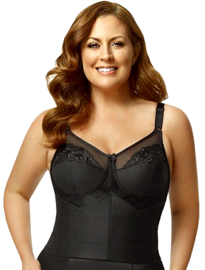 Elila Embroidered Soft Cup Longline 5001 - Black