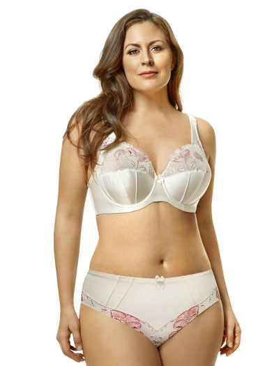 Elila Glamour Embroidery Underwire Bra 2021 - Antique White