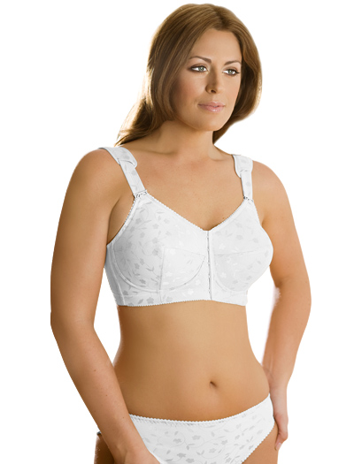 Elila Jacquard Front Hook Softcup Bra 1515 - White