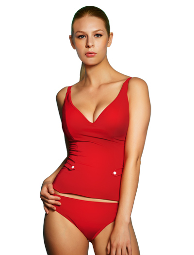 Freya Fever Underwire Deep Plunge Tankini Top 3331 - Red