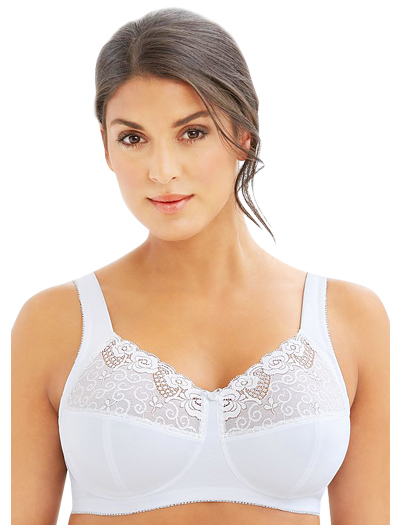 Glamorise Comfort Lift Rose Lace Support Bra 1104 - White