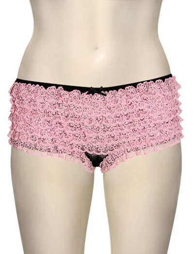 Honeydew Lace Ruffle Rumba Boyshorts 004-1 - Black / Pink