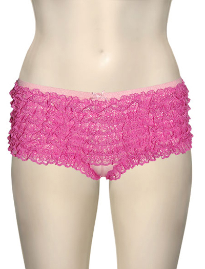 Honeydew Lace Ruffle Rumba Boyshorts 004-1 - Hot Pink