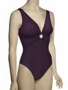 Karla Colletto Basic One Piece Rings V-Neck UW Bathing Suit 96-570 - Grape