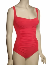 Karla Colletto Basic One Piece Square Neck Silent UW Swimsuit BA-D70 - Red