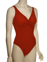 Karla Colletto Basic One Piece V-Neck Silent Underwire Swimsuit 55-D70 - Cherry