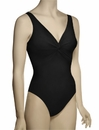 Karla Colletto Basic One Piece V-Neck Silent Underwire Swimsuit 55-D70 - Black