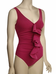Karla Colletto Basic One Piece V-Neck Silent Underwire Swimsuit 245-D70 - Garnet