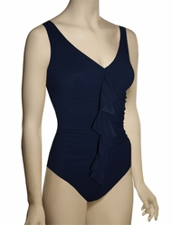 Karla Colletto Basic One Piece V-Neck Silent Underwire Swimsuit 245-D70 - Navy