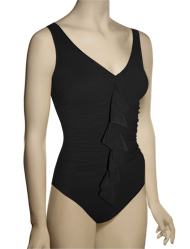 Karla Colletto Basic One Piece V-Neck Underwire Bathing Suit 245-D70 - Black
