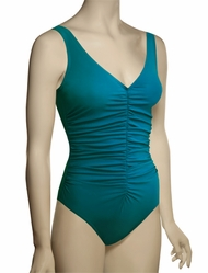Karla Colletto Basic One Piece V-Neck Underwire Swimsuit BA-N70 - Teal
