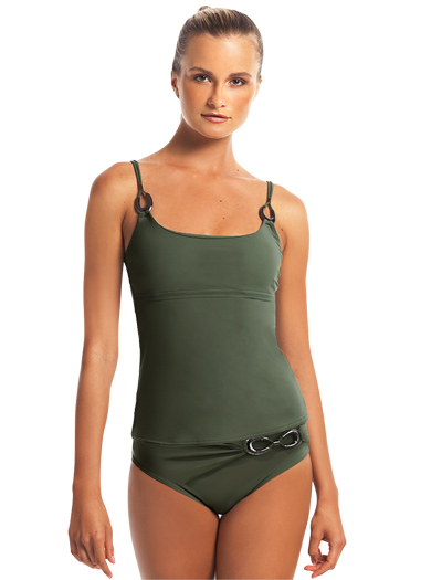 Karla Colletto Horseshoe Round Neck Tankini With Shelf Bra 213-RLT - Lichen