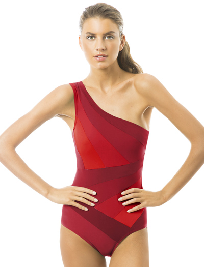 Karla Colletto Ombre One Shoulder Swimsuit 237-N60 - Red