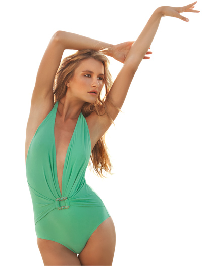 Karla Colletto Turquoise Square Low Back Plunge Bathing Suit 211-800 - Mint Julep
