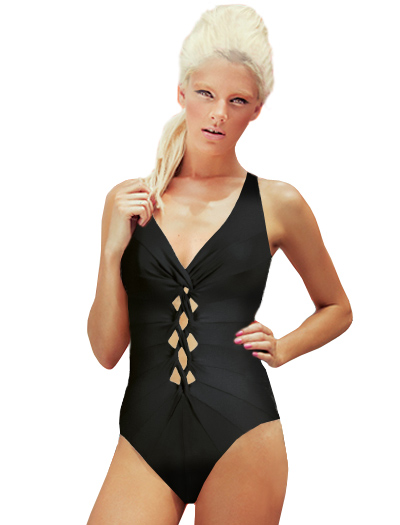 Karla Colletto Twist V-Neck Silent Tank One Piece Swimsuit 274-570 - Black