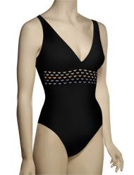 Karla Colletto Woven Round Neck Underwire Tank Swimsuit 249-570 - Black