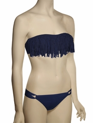 L-Space Knotted Fringe Dolly Bikini Top FR55T13 - Steel Blue