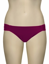 L-Space Sensual Solids Foxy Tab Full Cut Bikini Bottom LS08F13 - Berry