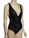 Lenny Basic New Touch Belt Maillot Swimsuit 205 - Black