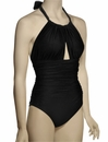 Lenny Basic New Touch Ruched Halter Maillot Swimsuit 241 - Black