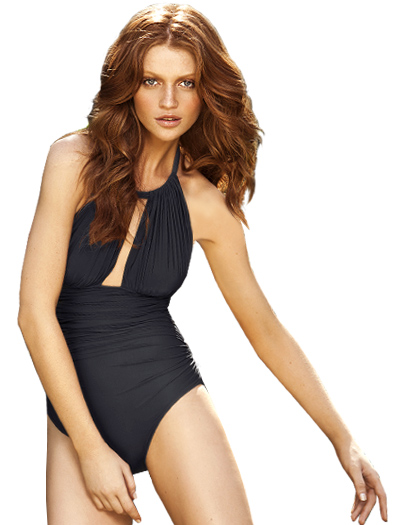 Lenny Basic New Touch Ruched Halter Maillot Swimsuit 241 - Charcoal