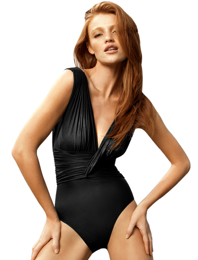 Lenny Basic Touch Drape Ruched Maillot Swimsuit 247 - Black