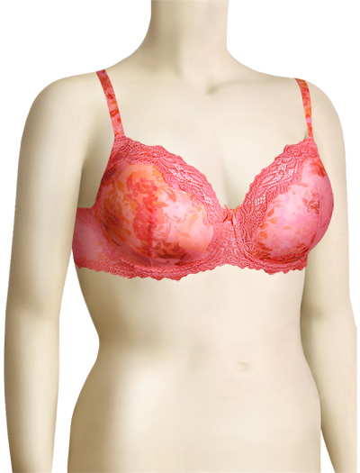 Lunaire Barbados Mesh Demi Bra 15211 - Coral Animal