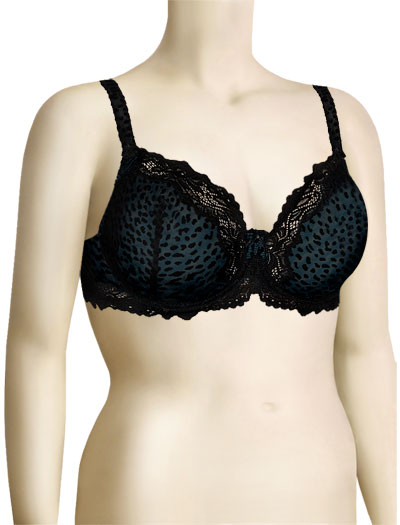 Lunaire Barbados Mesh & Velvet Demi Bra 15213 - Black / Animal