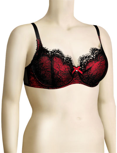Lunaire Veronica Foam Demi Cup With Lace 30011 - Red