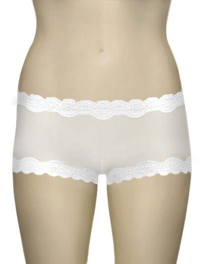Mary Green Silk Gauze Hip Hugger Boyshort LT8 - White