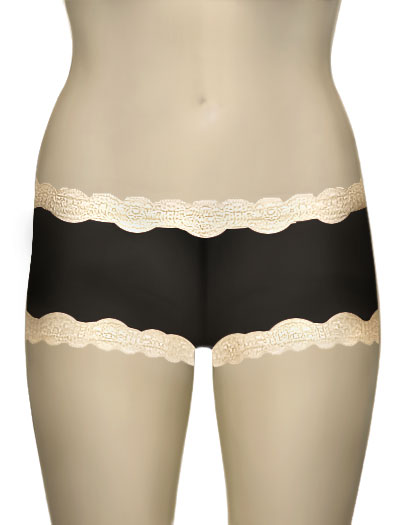 Mary Green Silk Gauze Hip Hugger Boyshort LT8 - Black / Cream