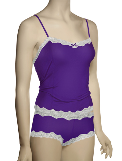 Mary Green Silk Knit With Lace Camisole LL5 - R. Lilac/Silver