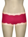 Mary Green Silk Knit With Lace Hip Hugger Boyshort LL3 - Red/Crmpuff