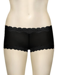 Mary Green Silk Knit With Lace Hip Hugger Boyshort LL3 - Black