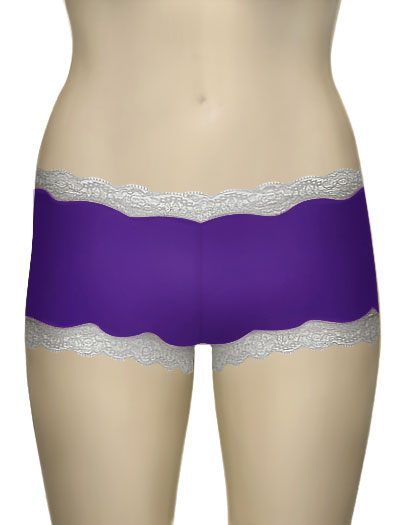 Mary Green Silk Knit With Lace Hip Hugger Boyshort LL3 - R. Lilac/Silver