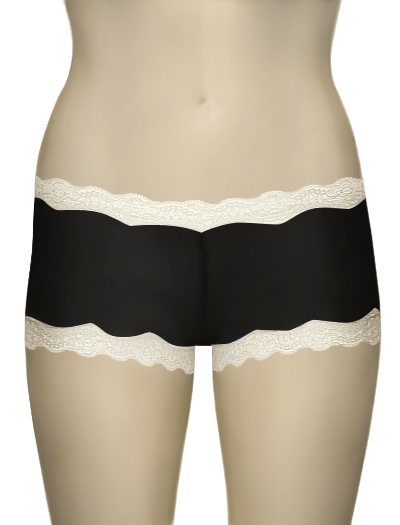 Mary Green Silk Knit With Lace Hip Hugger Boyshort LL3 - Licorice/Crm