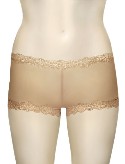 Mary Green Silk Knit With Lace Hip Hugger Boyshort LL3 - Nude