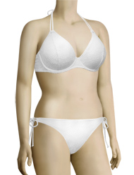 Miss Mandalay Coachella Underwire Halter Bikini Top CC01WHP - White Knit